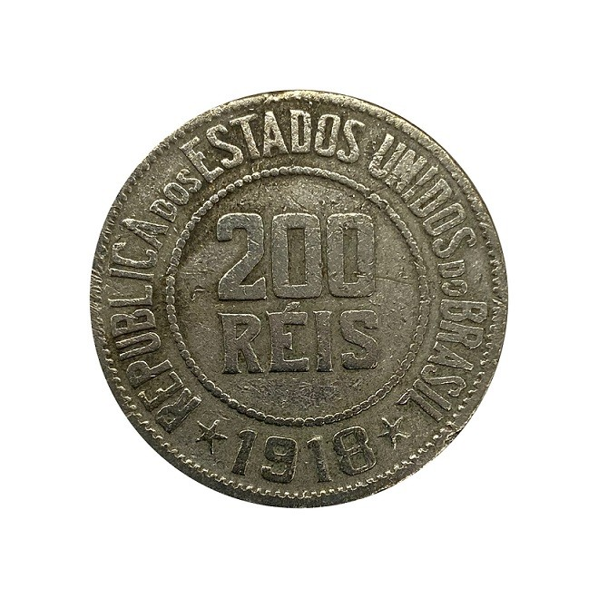 Moeda Brasil 200 Réis 1918 MBC