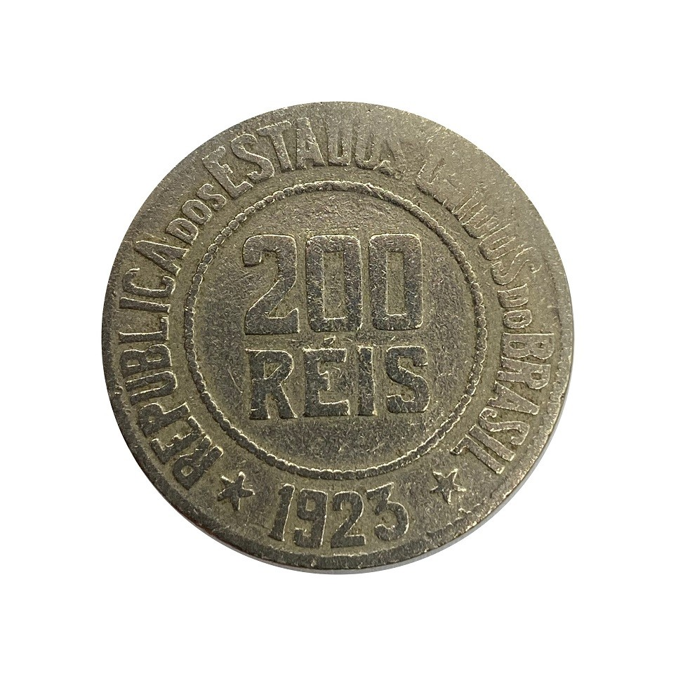 Moeda Brasil 200 Réis 1923 MBC