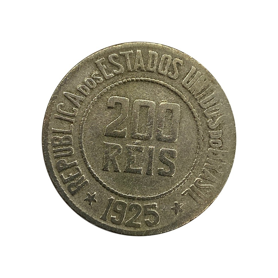 Moeda Brasil 200 Réis 1925 MBC
