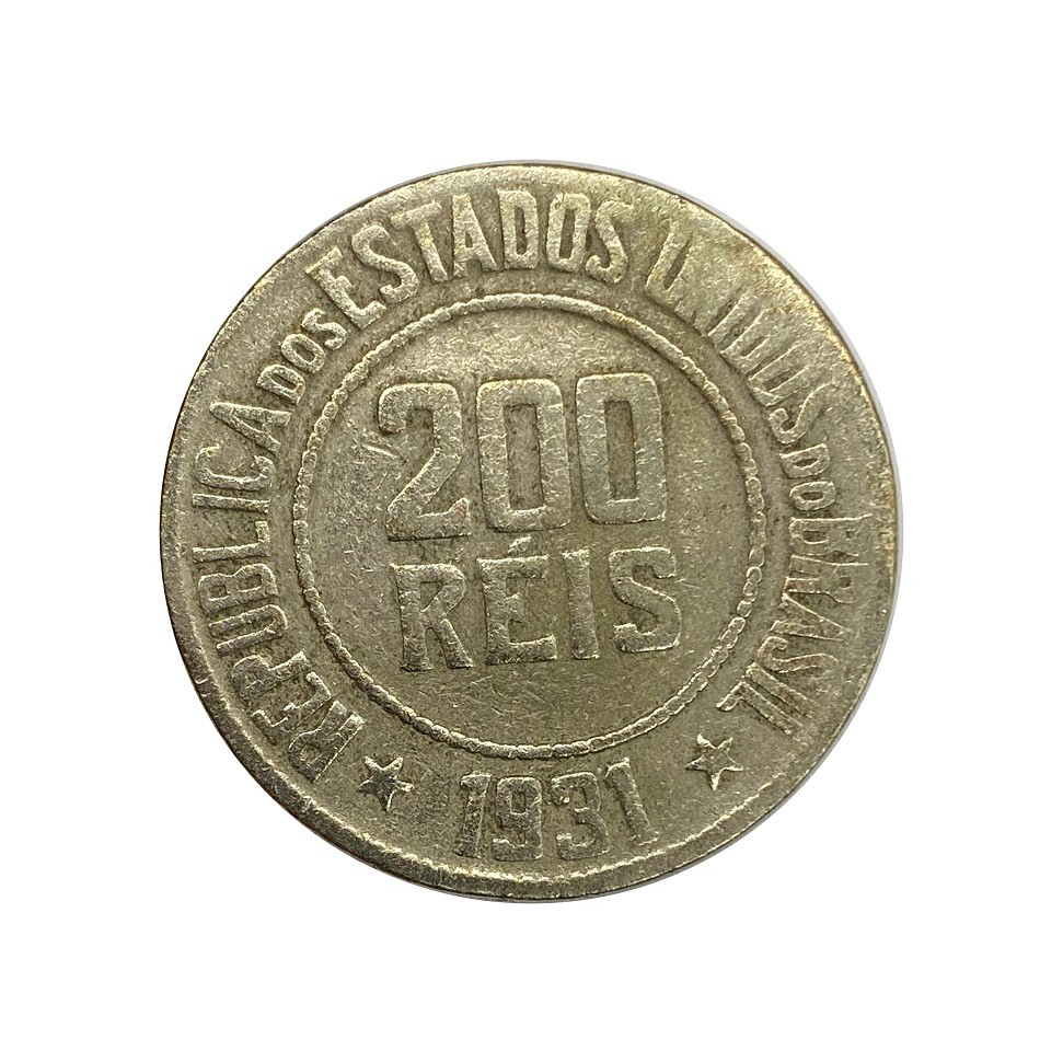 Moeda Brasil 200 Réis 1931 MBC