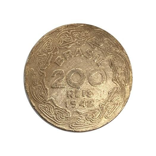Moeda Brasil 200 Réis 1942 Getúlio Vargas MBC