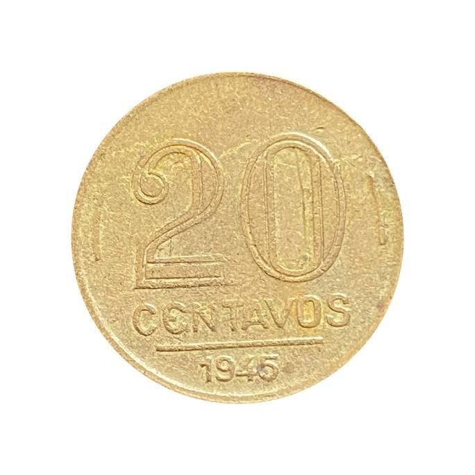Moeda Brasil 20 Centavos 1945 Getúlio Vargas MBC