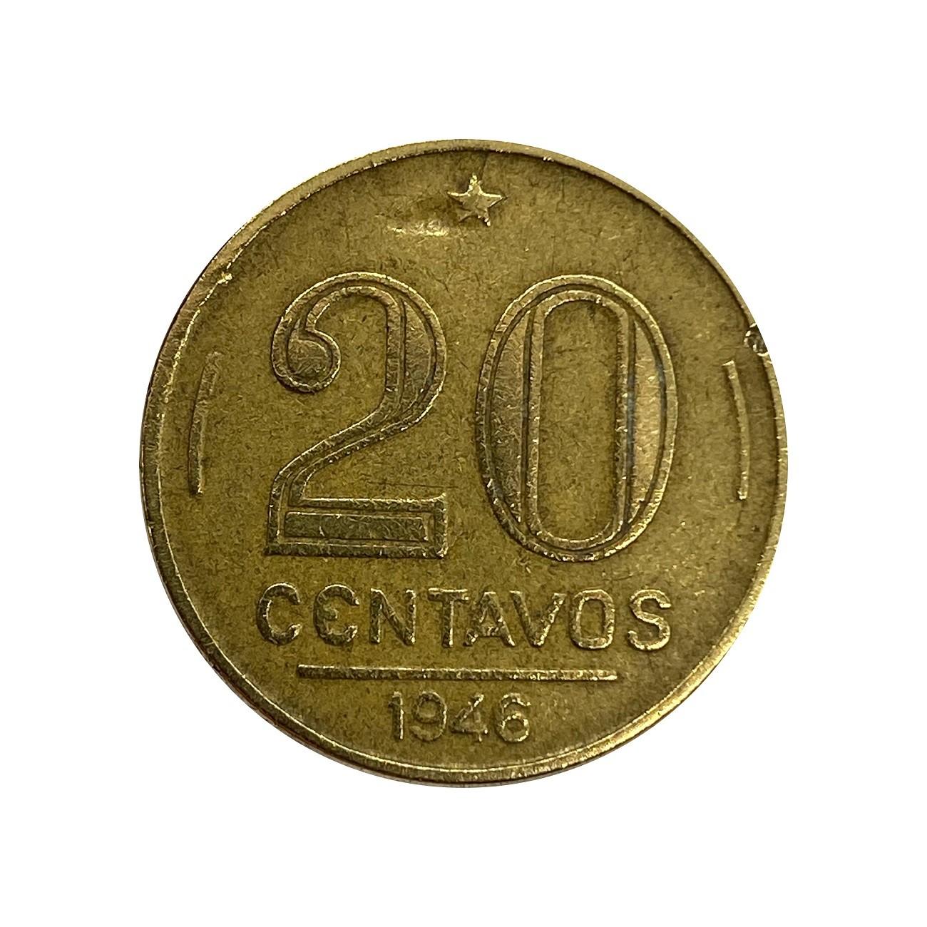 Moeda Brasil 20 Centavos 1946 Getúlio Vargas MBC