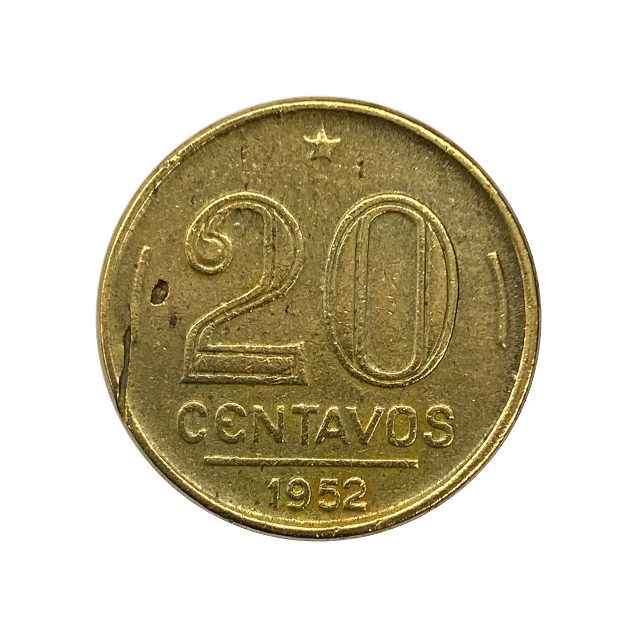 Moeda Brasil 20 Centavos 1952 Ruy Barbosa MBC