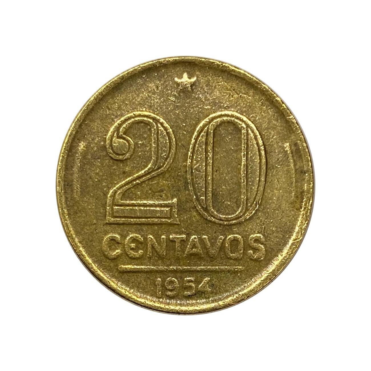 Moeda Brasil 20 Centavos 1954 Ruy Barbosa MBC