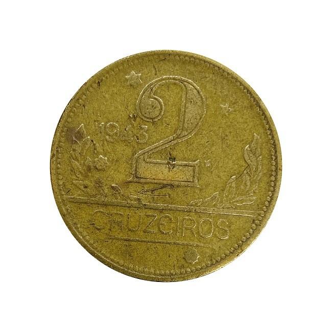 Moeda Brasil 2 Cruzeiros 1943 MBC