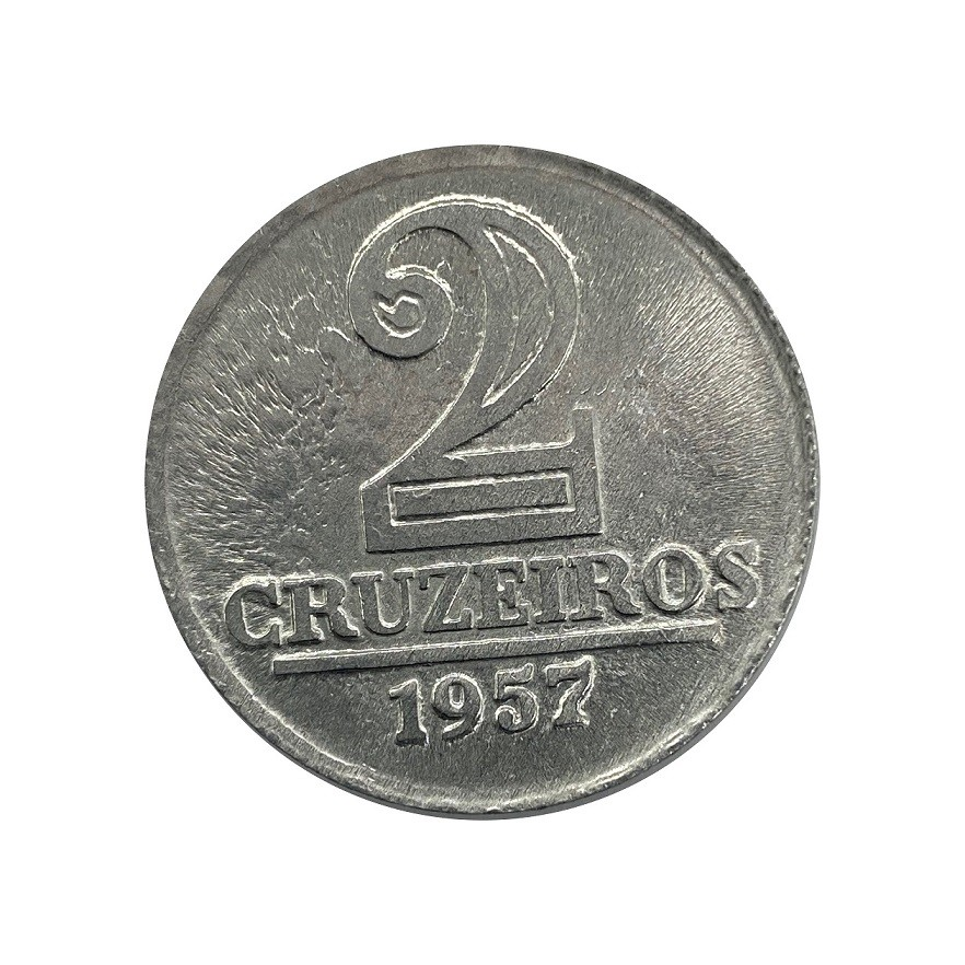 Moeda Brasil 2 Cruzeiros 1957 Escassa FC