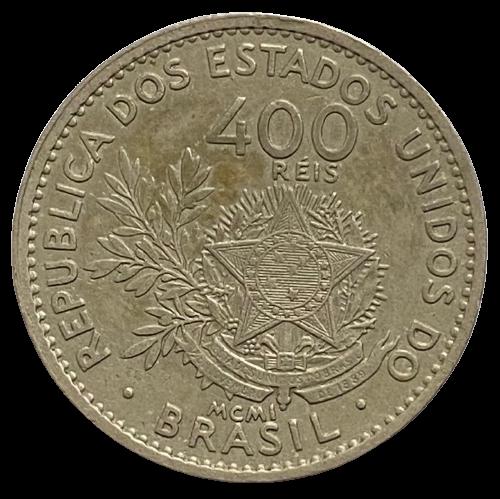 Moeda Brasil 400 Réis 1901 MCMI FC