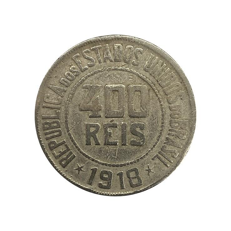 Moeda Brasil 400 Réis 1918 MBC