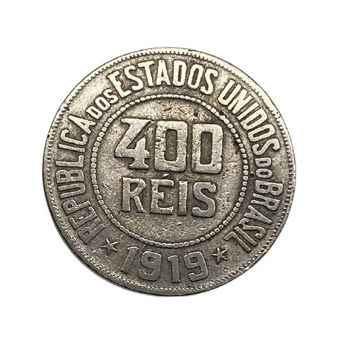 Moeda Brasil 400 Réis 1919 MBC