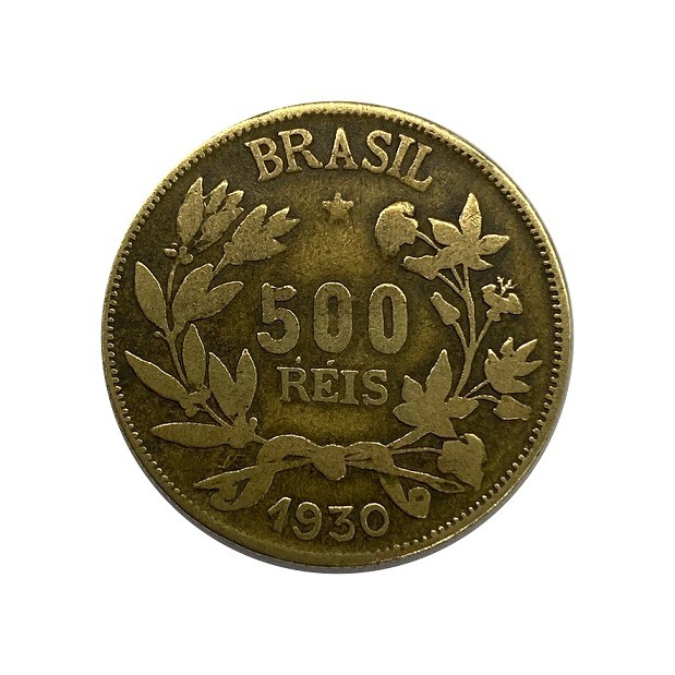 Moeda Brasil 500 Réis 1930  com acento no R MBC