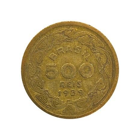Moeda Brasil 500 Réis 1939 Machado de Assis MBC