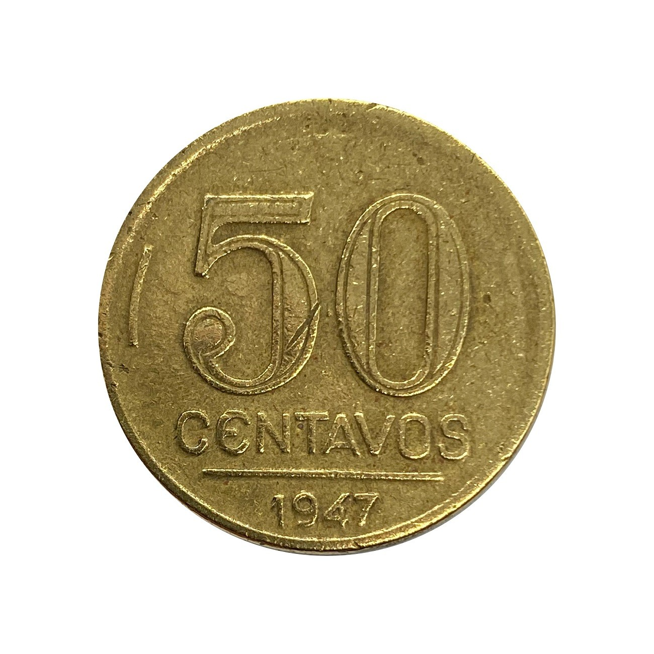 Moeda Brasil 50 Centavos 1947 Getúlio Vargas MBC
