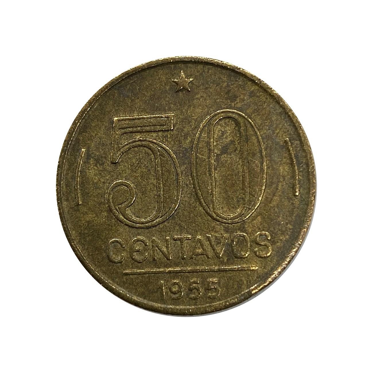 Moeda Brasil 50 Centavos 1955 Gaspar Dutra MBC