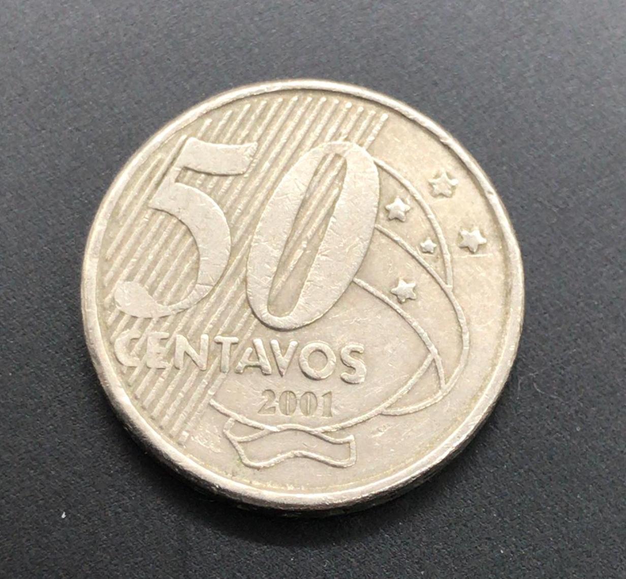 Moeda Brasil 50 Centavos 2001 MBC