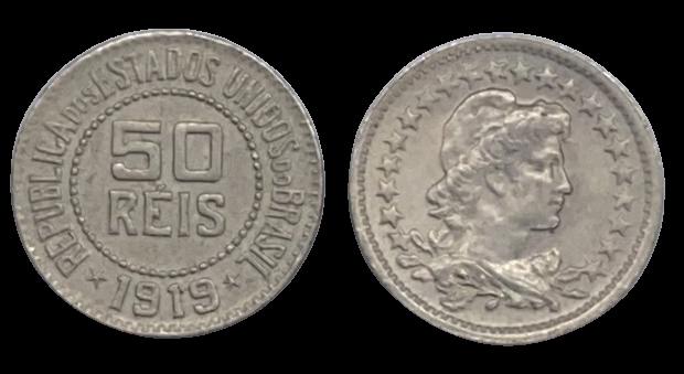 Moeda Brasil 50 Réis 1919 FC