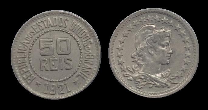 Moeda Brasil 50 Réis 1921 FC