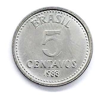 Moeda Brasil 5 Centavos 1988 SOB