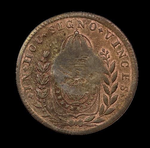 Moeda Brasil Cobre 40 Réis Carimbo Geral de 20 1832 R MBC