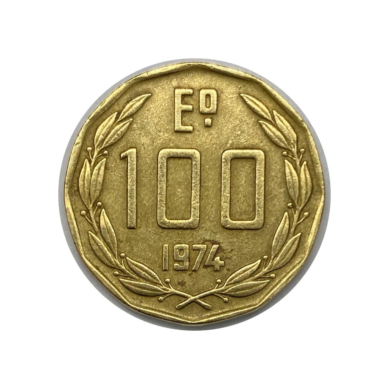 Moeda Chile 100 Escudos 1974 MBC