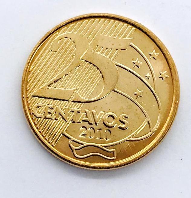 Moeda colecionavel em coin holder 25 centavos 2010 fc