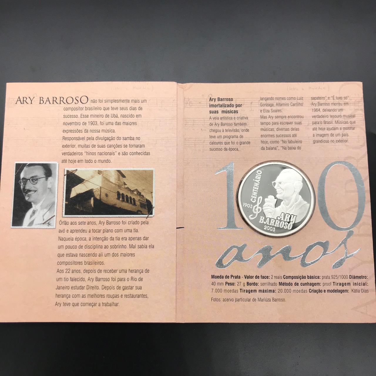 Moeda de Prata Comemorativa Aos 100 Anos de Ary Barroso