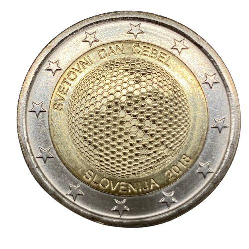 Moeda Eslovénia  2 euro, 2018 Dia Mundial das Abelhas fc