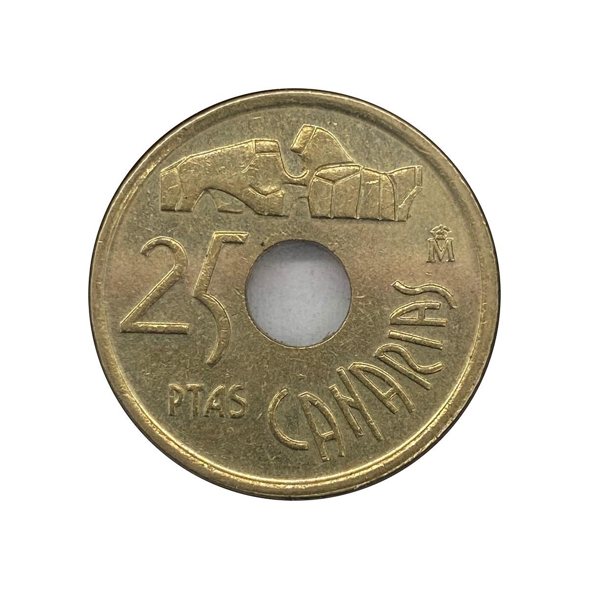 Moeda Espanha Ilhas Canárias 5 pesetas 1994 MBC
