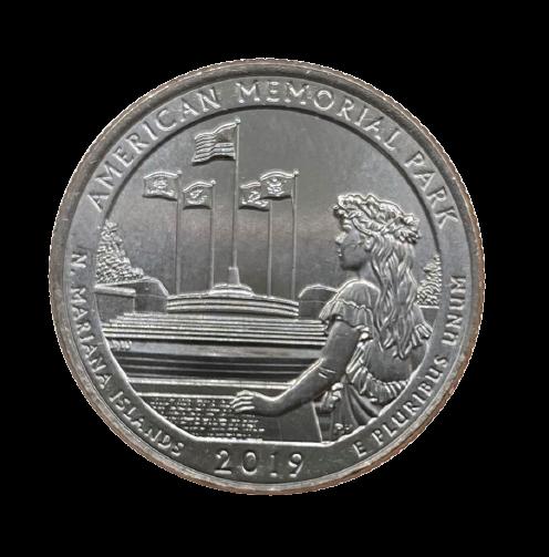 Moeda EUA Quarter Dollar American Memorial Park 2019 D FC