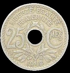 Moeda França 25 Cêntimos 1918 SOB