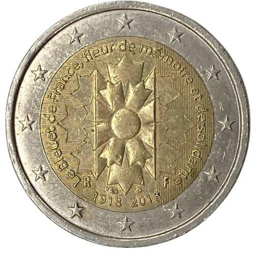 Moeda França 2 Euro, 2018 Centenário Fim da Primeira Guerra Mundial