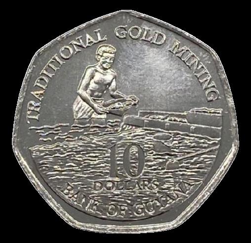 Moeda Guiana 10 Dólares 1996 SOB