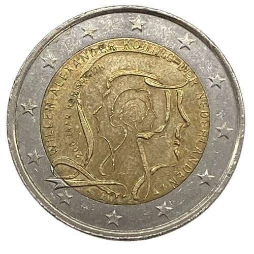 Moeda Holanda 2 Euro, 2013 Bicentenário do Reino dos Países Baixos