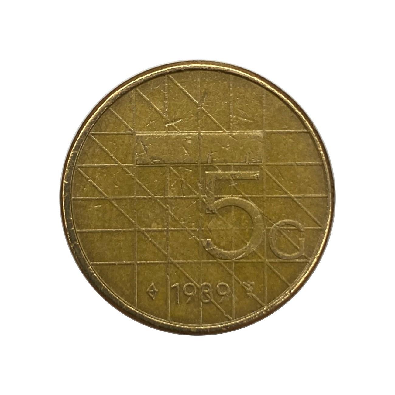 Moeda Holanda 5 Cêntimos 1989 MBC