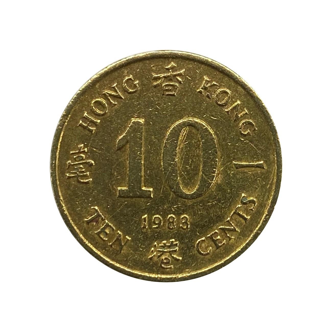 Moeda Hong Kong 10 Cents 1983 MBC