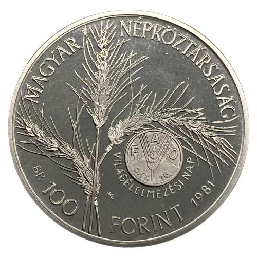 Moeda Hungria 100 florins, 1981  FAO