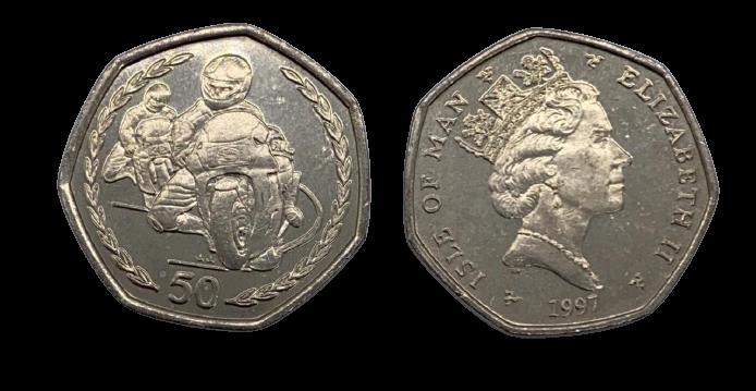 Moeda Ilha de Man 50 pence, 1996-1997