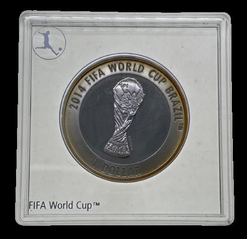 Moeda Ilhas Cook Comemorativa Copa do Mundo FIFA 2013 PROOF