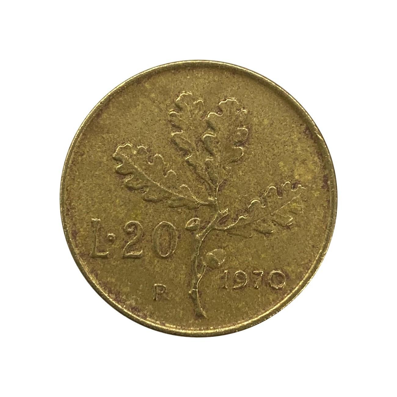 Moeda Itália 20 Liras 1970 MBC