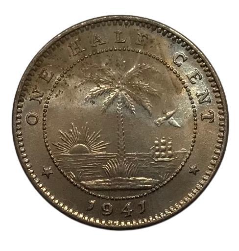 Moeda Libéria Fauna 1/2 Cêntimo 1941