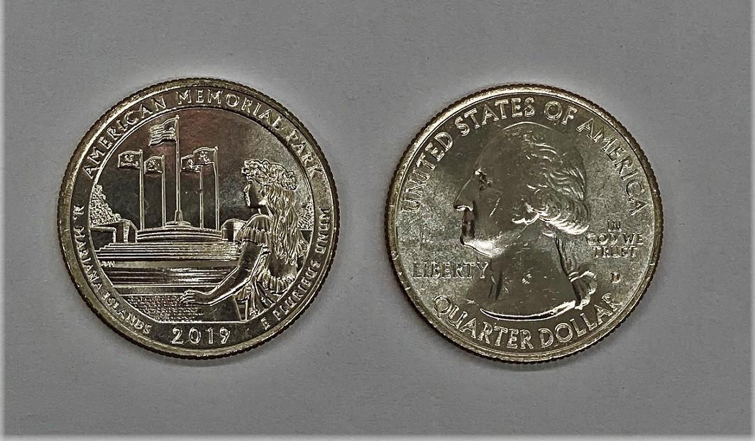 Moeda Quarter Dollar American Memorial 2019-D (flor de cunho)