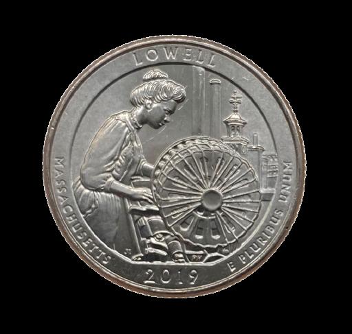 Moeda Quarter Dollar Lowell National Park 2019 P SOB
