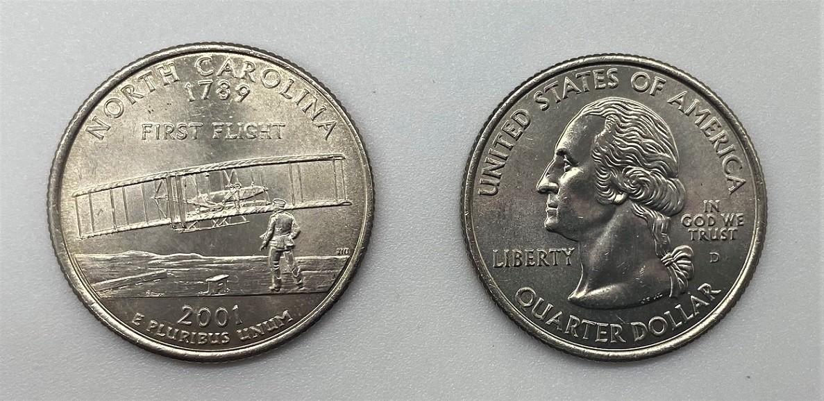 Moeda Quarter Dollar  North Carolina-2001-D (flor de cunho)