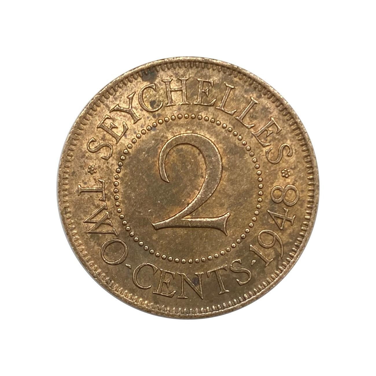 Moeda Seychelles 2 Cents 1948 MBC