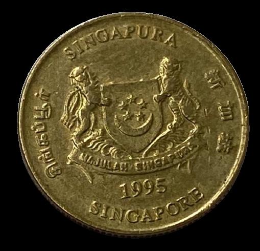 Moeda Singapura 5 Cêntimos 1995 MBC