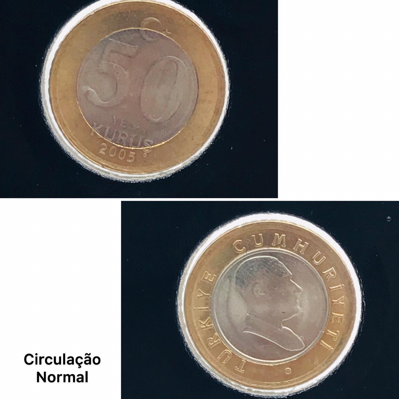 Moeda Turquia Bimetalica 50 Kurus 2005