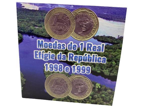 Moedas Brasil 1 Real 1998 e1999 MBC + Cartela Brinde