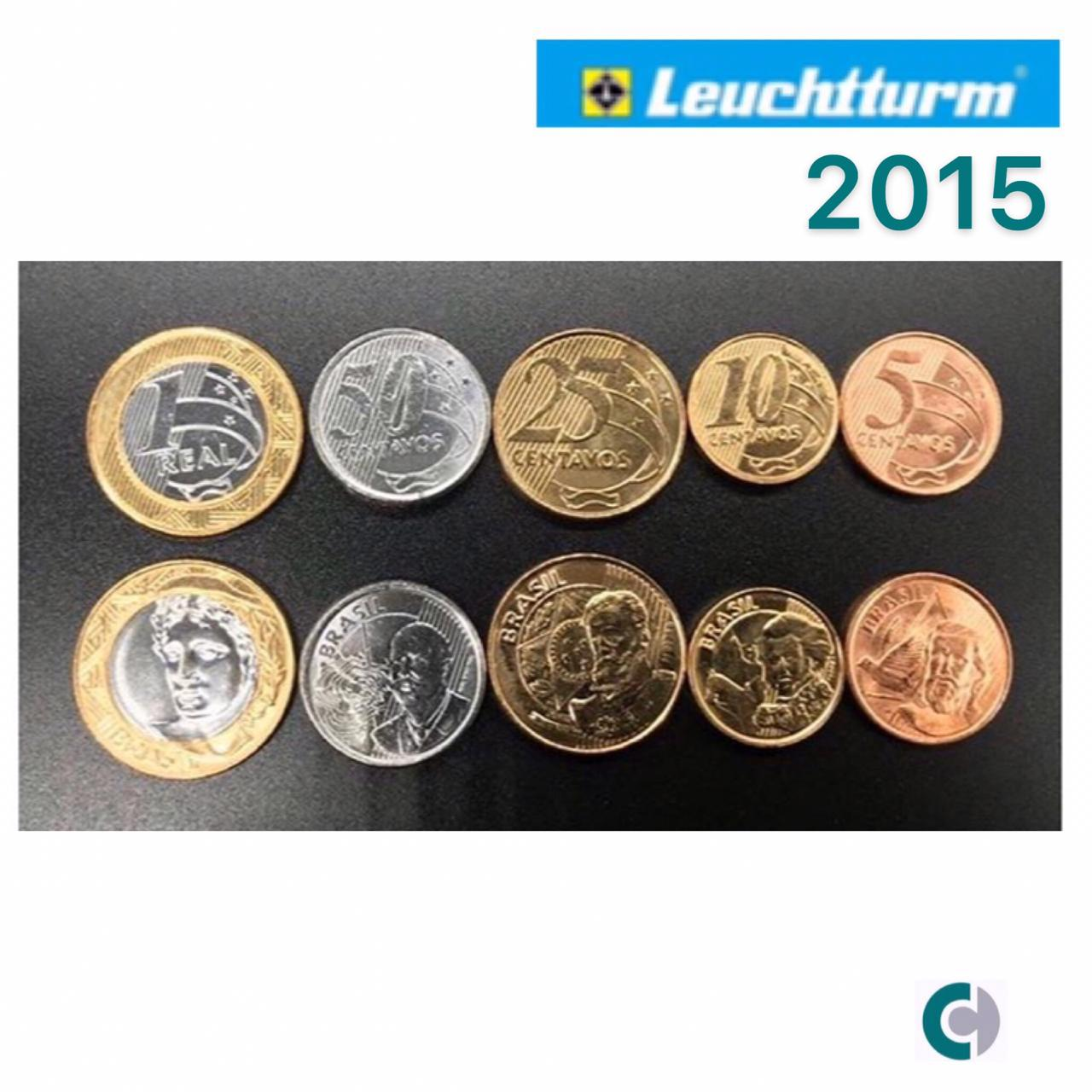 Set de Moedas do Real 2015 (FC) em coin holder Leuchtturm