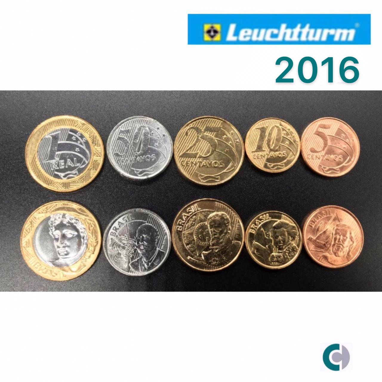 Set de Moedas do Real 2016 (FC) Em coin Holder Leuchtturm