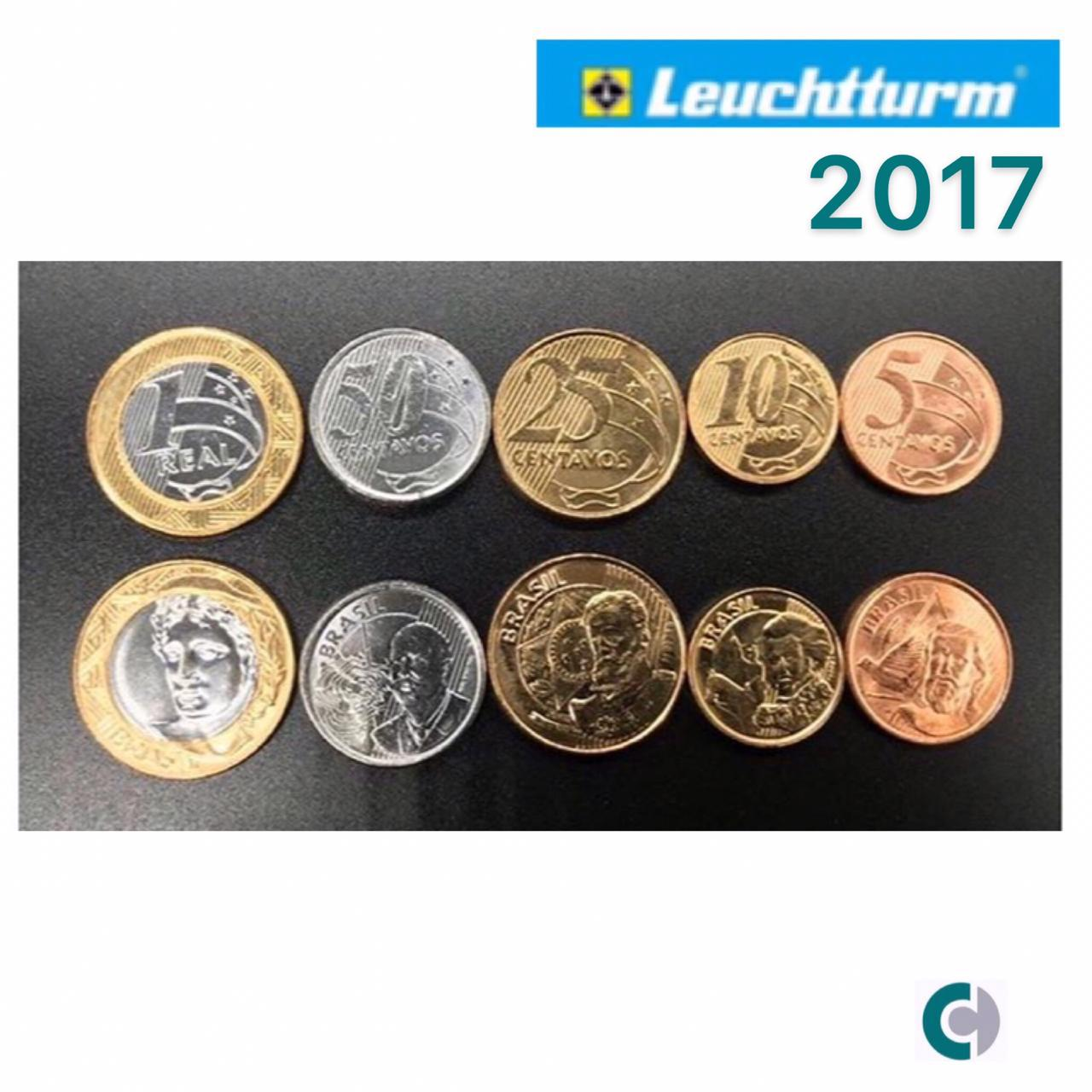 SET de Moedas do Real 2017 (FC) em coin holder Leuchtturm